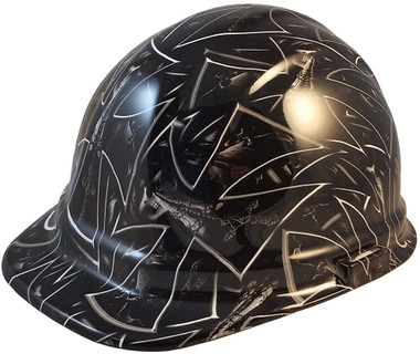 Maltese Cross and Skulls Hydro Dipped Cap Style Hard Hats - Oblique View