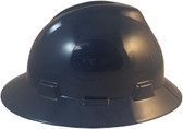 MSA V-Gard Full Brim Hard Hats with Fas-Trac Suspensions Navy Blue - Right Side View