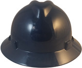 MSA V-Gard Full Brim Hard Hats with Staz On Suspensions Navy Blue  - Front View