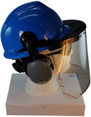 MSA V-Gard Cap Style hard hat with Clear Faceshield, Hard Hat Attachment, and Earmuff - Blue   - Down Position