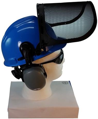 MSA V-Gard Cap Style hard hat with MSA V-Gard Cap Style hard hat with Pyramex Smoke Mesh Faceshield - Blue - Up Position