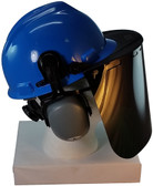 MSA V-Gard Cap Style hard hat with Dark Green Faceshield, Hard Hat Attachment, and Earmuff - Blue - Down Position