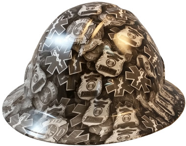 First Responder Full Brim Hydro Dipped Hard Hats - Oblique View