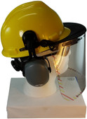 MSA V-Gard Cap Style hard hat with Clear Faceshield, Hard Hat Attachment, and Earmuff - Yellow - Down Position