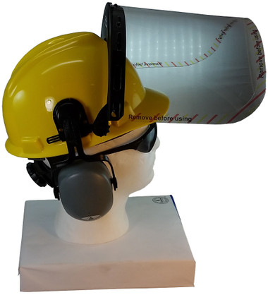 MSA V-Gard Cap Style hard hat with Polycarbonate Clear Faceshield, Hard Hat Attachment, and Earmuff - Yellow  - Up Position