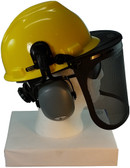 MSA V-Gard Cap Style hard hat with Smoke Mesh Faceshield, Hard Hat Attachment, and Earmuff - Yellow  - Down Position