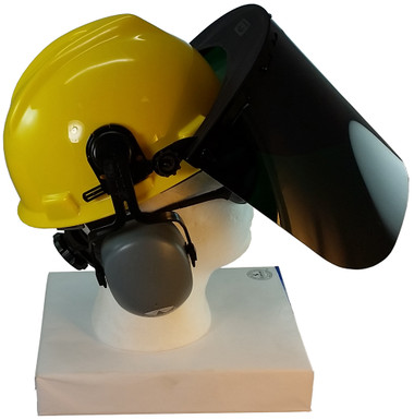MSA V-Gard Cap Style hard hat with Dark Green Faceshield, Hard Hat Attachment, and Earmuff - Yellow - Up Position