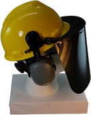 MSA V-Gard Cap Style hard hat with Dark Green Faceshield, Hard Hat Attachment, and Earmuff - Yellow - Down Position