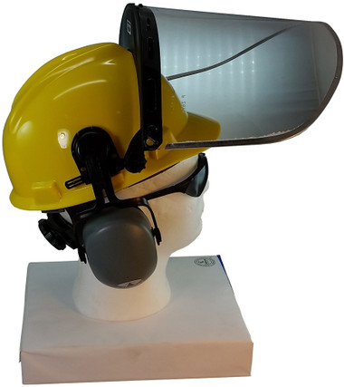 MSA V-Gard Cap Style hard hat with Pyramex Polycarbonate Clear Faceshield with Aluminum Bound Edges - Yellow - Up Position