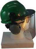 MSA V-Gard Cap Style hard hat with Clear Faceshield, Hard Hat Attachment, and Earmuff - Green - Down Position