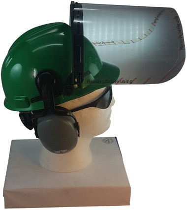 MSA V-Gard Cap Style hard hat with Polycarbonate Clear Faceshield, Hard Hat Attachment, and Earmuff - Green - Up Position
