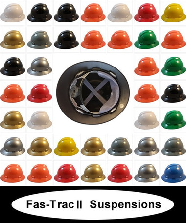 MSA V-Gard Full Brim Hard Hats with Fas-Trac III Suspensions  ~ All Colors