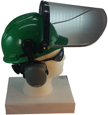 MSA V-Gard Cap Style hard hat with Pyramex Polycarbonate Clear Faceshield with Aluminum Bound Edges - Green - Up Position