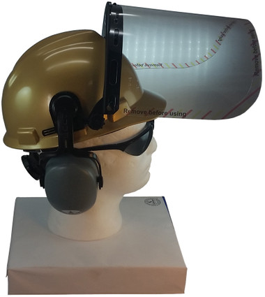 MSA V-Gard Cap Style hard hat with Clear Faceshield, Hard Hat Attachment, and Earmuff - Gold - Up Position