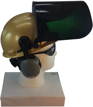 MSA V-Gard Cap Style hard hat with Dark Green Faceshield, Hard Hat Attachment, and Earmuff - Gold - Up Position