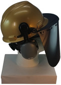 MSA V-Gard Cap Style hard hat with Dark Green Faceshield, Hard Hat Attachment, and Earmuff - Gold - Down Position