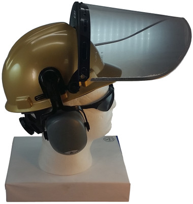 MSA V-Gard Cap Style hard hat with Pyramex Polycarbonate Clear Faceshield with Aluminum Bound Edges - Gold - Up Position