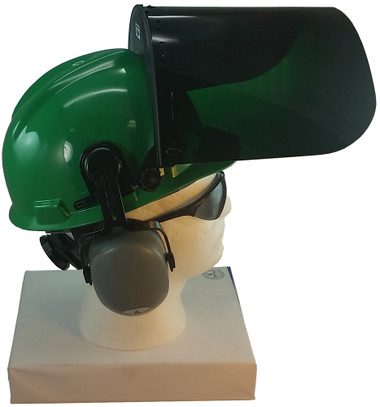 MSA V-Gard Cap Style hard hat with Dark Green Faceshield, Hard Hat Attachment, and Earmuff - Green - Up Position