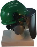 MSA V-Gard Cap Style hard hat with Dark Green Faceshield, Hard Hat Attachment, and Earmuff - Green - Down Position