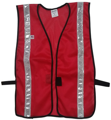 Dark Red Soft Mesh Vests with Silver Stripes