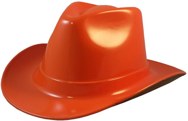 Occunomix Western Cowboy Hard Hats ~  Hi Viz Orange - Oblique View