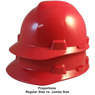 MSA Cap Style Large Jumbo Hard Hats with Fas-Trac Suspensions Red ~ Proportions Regular Size vs Jumbo Size