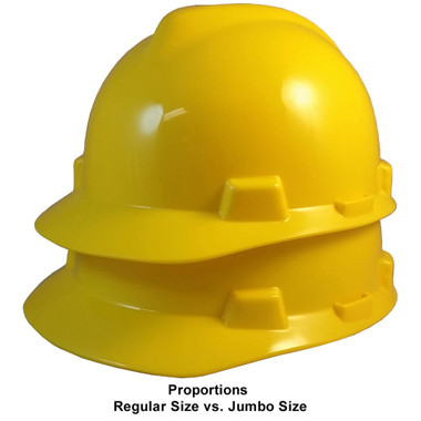 MSA Cap Style Large Jumbo Hard Hats with Fas-Trac Suspensions Yellow - Proportions Regular Size vs Jumbo Size