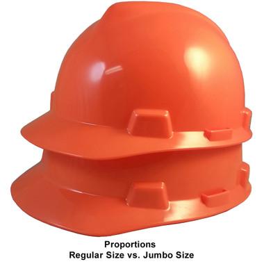 MSA Cap Style Large Jumbo Hard Hats with Fas-Trac Suspensions Hi Viz Orange  - Proportions Regular Size vs Jumbo Size