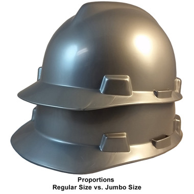 MSA Cap Style Large Jumbo Hard Hats with Fas-Trac Suspensions Silver  - Proportions Regular Size vs Jumbo Size