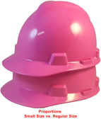 MSA Cap Style Small Hard Hats with Fas-Trac Suspensions Hot Pink - Proportions Regular Size vs Small Size