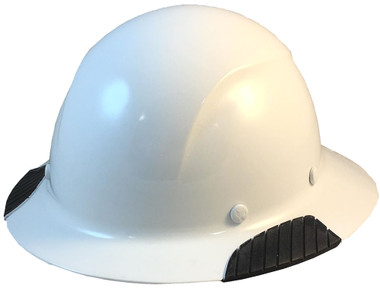 Actual Carbon Fiber Hard Hat - Full Brim White  - Oblique View