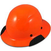 DAX Fiberglass Composite Hard Hat - Full Brim High Vision Orange - Oblique View