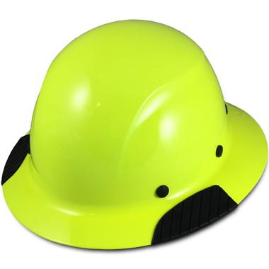 DAX Fiberglass Composite Hard Hat - Full Brim High Vision Lime - Oblique View