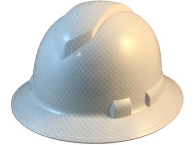 Pyramex Full Brim RIDGELINE Hard Hat Shiny White Pattern - Oblique View