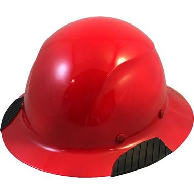 Actual Carbon Fiber Hard Hat - Full Brim High Vision Red - Oblique