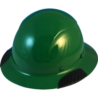 Actual Carbon Fiber Hard Hat - Full Brim High Vision Dark Green - Oblique