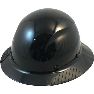 Actual Carbon Fiber Hard Hat - Full Brim Solid Black - Oblique