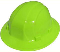 ERB Omega II Full Brim Hard Hats w/ Ratchet Hi Viz Lime