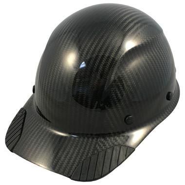 Actual Carbon Fiber Hard Hat - Cap Style Glossy Black  - Oblique View
