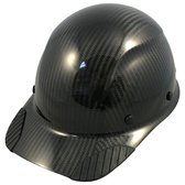 Actual Carbon Fiber Hard Hat - Cap Style Glossy Black  - Oblique View