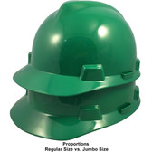 MSA Cap Style Large Jumbo Hard Hats with Fas-Trac Suspensions Green - Proportions Regular Size vs Jumbo Size