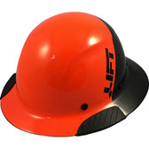 Actual Carbon Fiber Hard Hat - Full Brim Glossy Black and High Vision Orange  - Oblique View