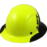 Actual Carbon Fiber Hard Hat - Full Brim Glossy Black and High Vision Lime - Oblique View