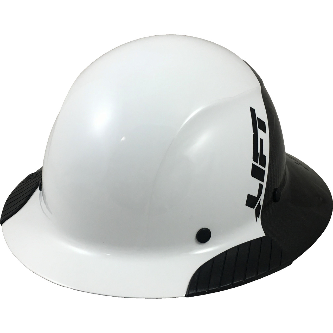 bc92637e Loading zoom. Actual Carbon Fiber Hard Hat - Full Brim Glossy Black and  White - Oblique View