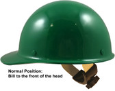 Skullgard Cap Style Hard Hats With Swing Suspension Green - Swing Suspension in Normal Position