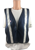 Soft Mesh Navy Blue Vests with Silver Stripes - Front View