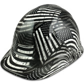 Black and White USA Cap Style Hydro Dipped Hard Hats - Oblique View