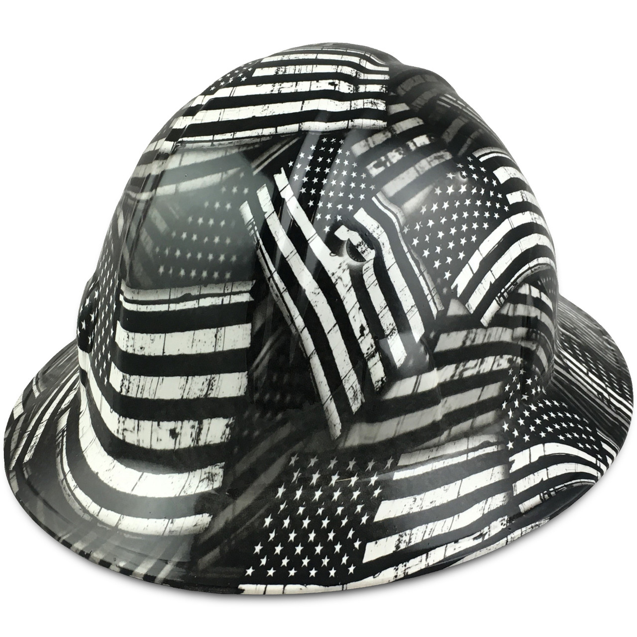Black and White USA Flag Hydro Dipped Hard Hats Full Brim Style