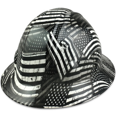 Black and White USA Flag Hydro Dipped Hard Hats Full Brim Style - Oblique View