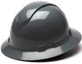 Pyramex Full Brim RIDGELINE Hard Hat Slate Gray 4 Point Suspensions  - Oblique View